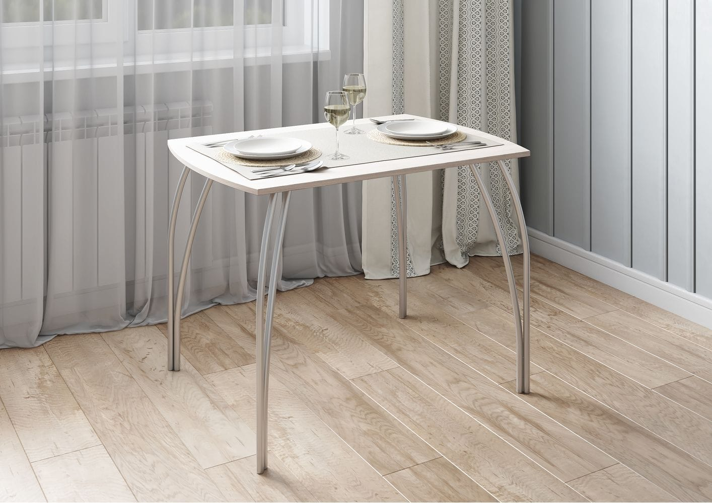Стол обеденный №5 венге/хром
